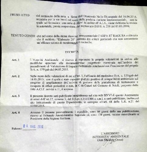 https://www.ragusanews.com//immagini_articoli/04-05-2016/firmato-il-decreto-di-sospensione-del-si-a-impianto-rifiuti-500.jpg