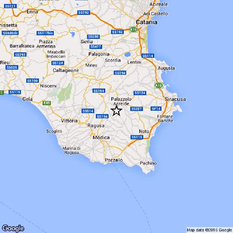 Cartina Geografica Sicilia Sud Orientale.Terremoti Nuova Scossa Sud Est Sicilia Catania